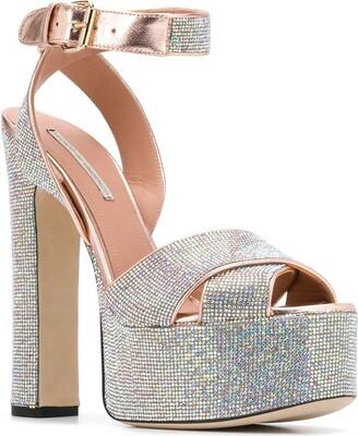 Marco De Vincenzo Crystal Embellished Platform Sandals