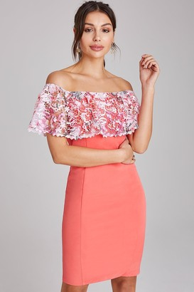 Paper Dolls Pedley Coral Lace Bardot Bodycon Dress