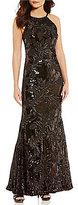 Calvin Klein High Halter Sequined Gown