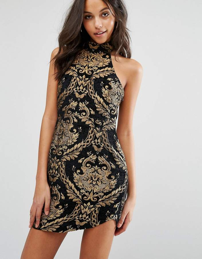 Missguided Metallic Jacquard Mini Dress