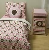 Bacati Mod Dots/str Pink/Choc 4 Toddler Bedding Set