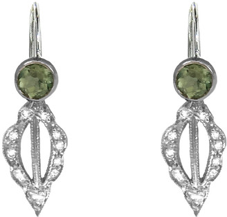 Cathy Waterman Green Tourmaline Scallop Marquise Seed Earrings - Platinum