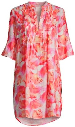 120% Lino Linen Pintuck Floral-Print Tunic Dress