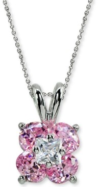 """Giani Bernini Cubic Zirconia Flower Cluster 18"""" Pendant Necklace in Sterling Silver, Created for Macy's"""