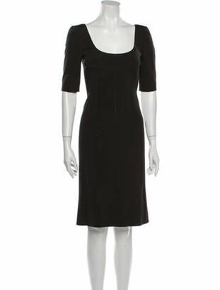 Prada Scoop Neck Knee-Length Dress Brown