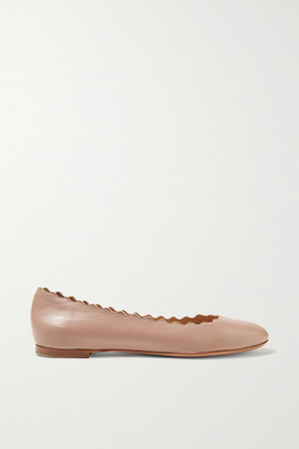 Chloé Lauren Scalloped Leather Ballet Flats - Beige
