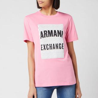 Armani Exchange Women's Large Boxed Logo Short Sleeve T-Shirt