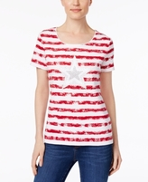 Karen Scott Petite Cotton Striped Embellished Top, Created for Macy's
