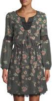 Dex Floral-Print Lace-Trim Peasant Dress
