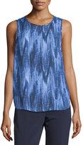 MICHAEL Michael Kors Printed Shirttail Metal-Logo Tank, Marina