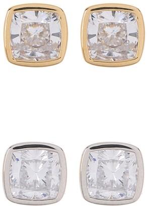Nadri Cece Two-Tone Cushion-Cut Stone Stud Earrings Set