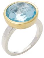 Gurhan Silver, Gold & Blue Topaz Cocktail Ring
