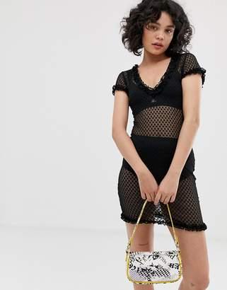 Emory Park sheer mini dress in polka-Black