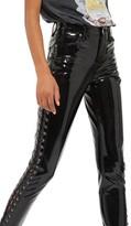 Topshop Women's Jamie Side Lace-Up Vinyl Skinny Pants