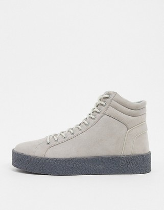 Asos DESIGN high top sneakers in gray with chunky gum sole