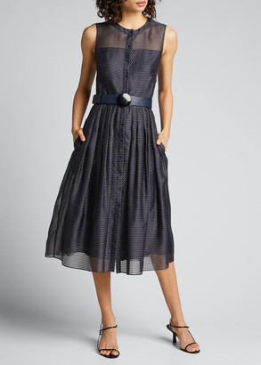 Akris Punto Pin Dot Organza Sleeveless Belted Dress
