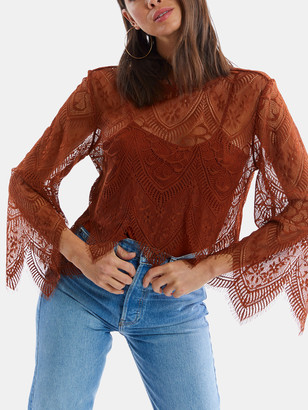 Allison Ny Lace Flare Sleeve Top