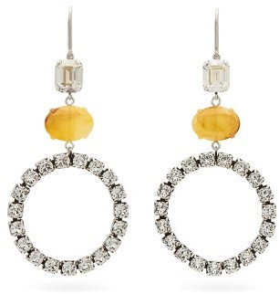 Isabel Marant Crystal-embellished Hoop Drop Earrings - Womens - Yellow