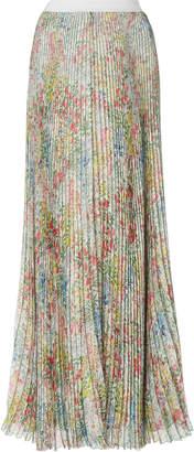 Giambattista Valli Floral-Print Pleated Silk-Chiffon Maxi Skirt