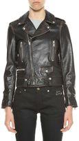 Saint Laurent Leather Biker Jacket With Print At Back