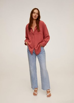 MANGO Oversize flowy shirt coral red - 2 - Women