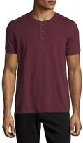 Vince Short-Sleeve Slub Henley T-Shirt, Oxblood Red