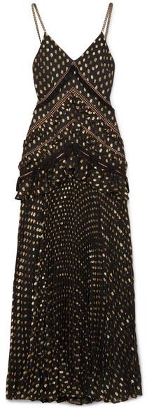 Self-Portrait SelfPortrait - Cutout Lace-trimmed Pleated Metallic Fil Coupé Chiffon Maxi Dress