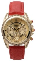 Geneva Platinum Women's Rhinestone Accent Round Face Simulated Leather Band Watch - Red