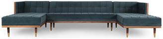 Kardiel Woodrow Modern Box Sofa U-Shaped Chaise Sectional, Neptune/Walnut