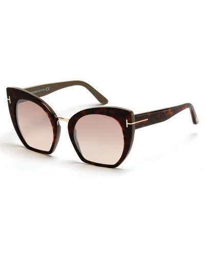Tom Ford Samantha Cropped Cat-Eye Sunglasses, Brown/Havana