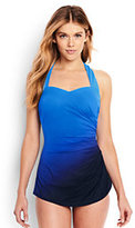 Lands' End Women's Petite Slender Tunic One Piece Swimsuit-Electric Blue Ombre