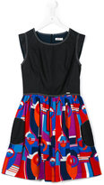 Junior Gaultier pleated printed skirt dress - kids - Cotton/Viscose - 14 yrs