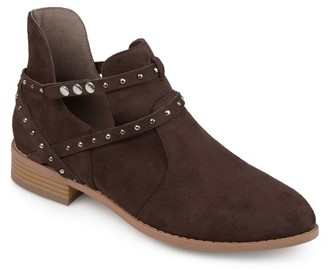 Brinley Co. Women's Faux Suede Studded Wrap Strap Side Cut-out Pointed Toe Ankle Booties