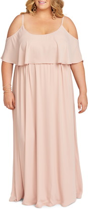 Show Me Your Mumu Caitlin Ruffle Cold Shoulder Evening Dress
