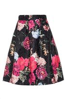Quiz Black Floral Jacquard Print Skirt