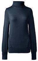 Lands' End Women's Merino Turtleneck Sweater-Vicuna Heather