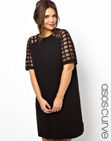 Asos Shift Dress With Cage Sleeve