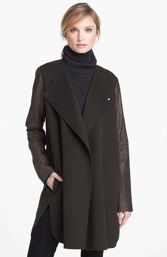 Vince Leather Sleeve Double Face Wool Coat