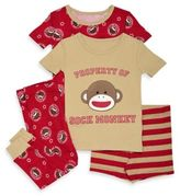 Baby Starters Sock Monkey Size 24M 4-Piece Short-Sleeve Pajama Set in Brown