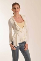 Rachel Pally Ruffle Wrap Top in Cream
