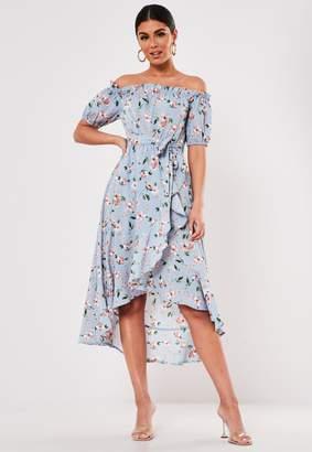 Missguided Blue Floral Bardot Wrap Midi Tea Dress