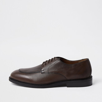River Island Brown leather lace-up emboss derby shoes