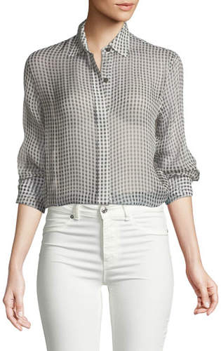Theory Gingham Essential Silk Button-Down Top