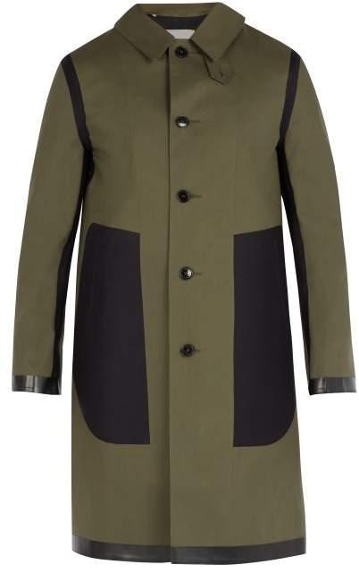 MACKINTOSH Contrast Panel Bonded Cotton Overcoat - Mens - Green
