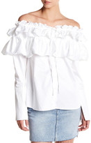 Opening Ceremony Sateen Layered Ruffle Blouse