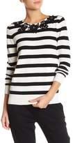 Joan Vass Embellished Stripe Sweater