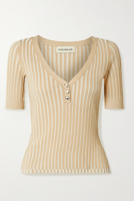 Nicholas Epices Ribbed-knit Top - Beige
