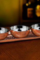 Godinger Hammered Copper Tray with 3 Bowls