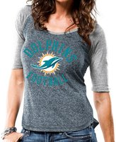 "Majestic Miami Dolphins Women's NFL ""Champion"" Scoop Neck Raglan T-shirt"