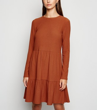 New Look Crinkle Long Sleeve Smock Dress